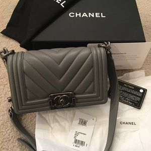 Chanel Grey Chevron Small Boy